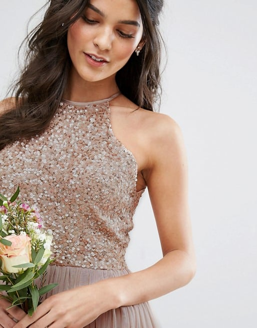 Neutral tulle and sequin top bridesmaid dress