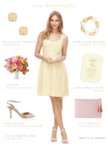 Pale yellow bridesmaid dress
