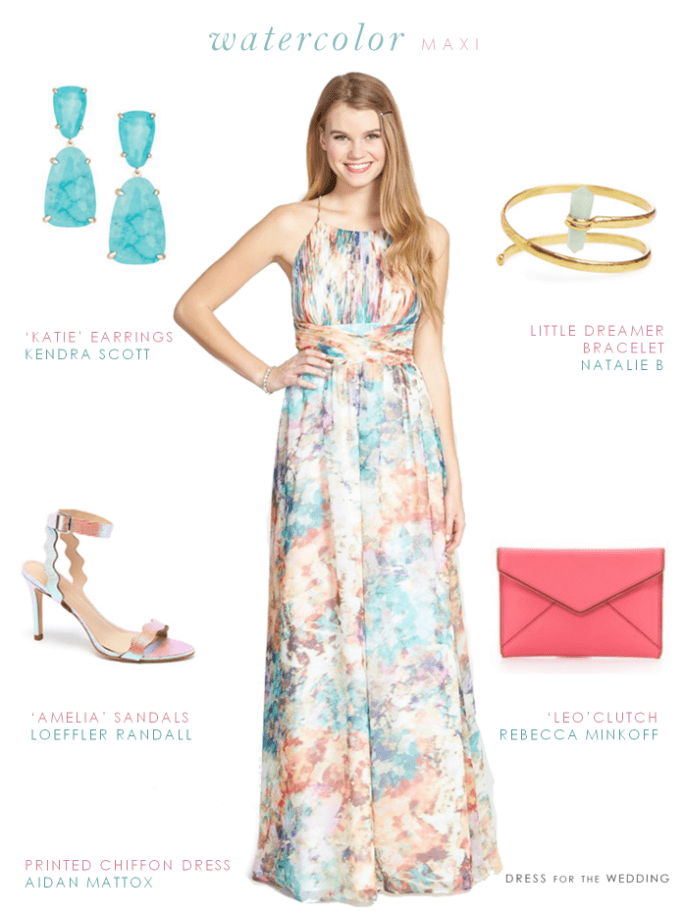 Dresses for a beach wedding for Print maxi dress for wedding
