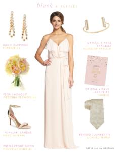 Ruffle top chiffon bridesmaid dress