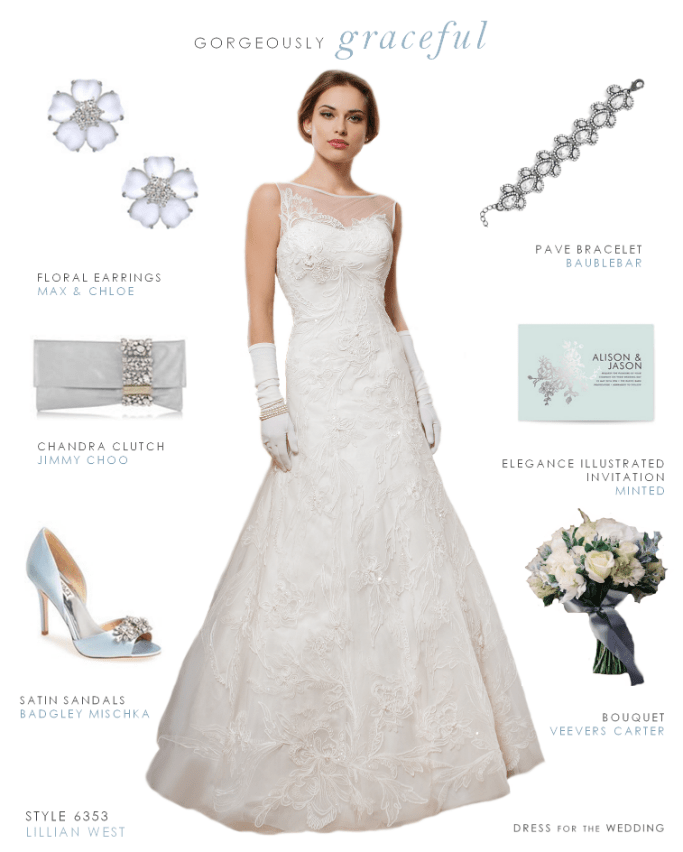 Sabrina neckline wedding dress by Lillian West
