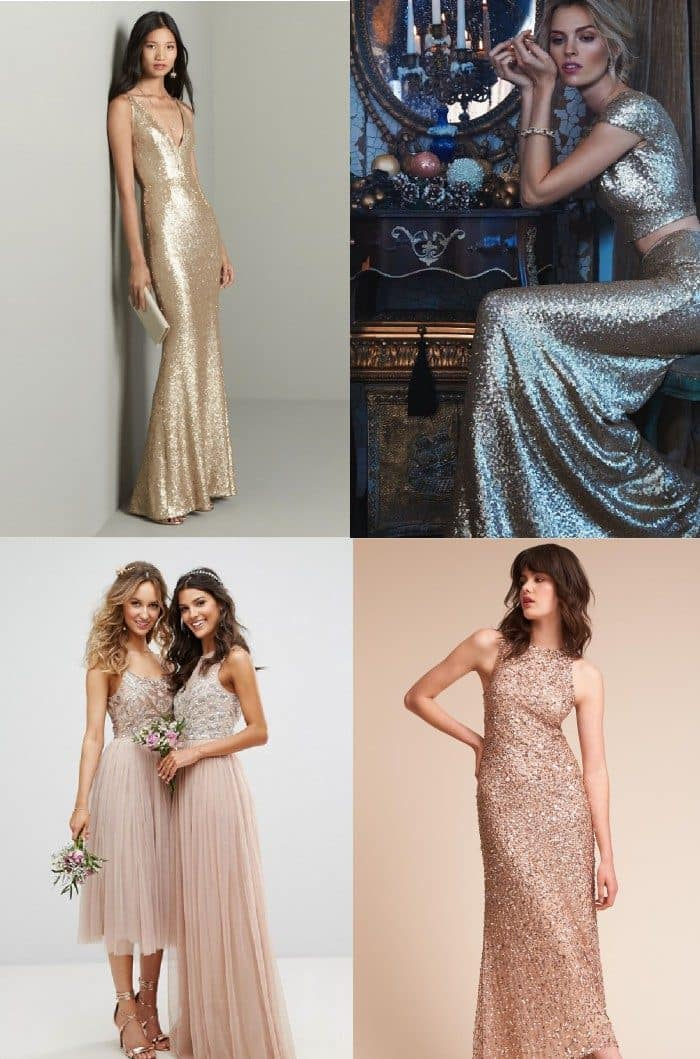 3b8b2f84177b Beaded, Metallic, and Sequined Bridesmaid Dresses