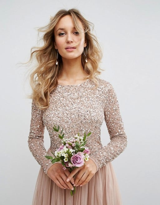 Long sleeve neutral bridesmaid dress