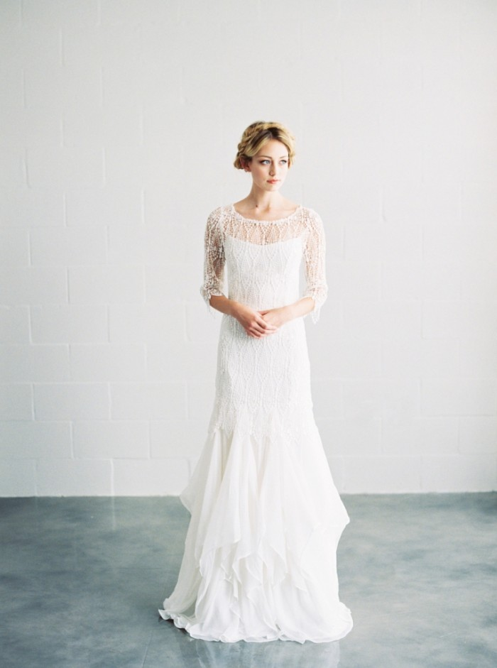 Unique lace wedding gown by Saint Isabel