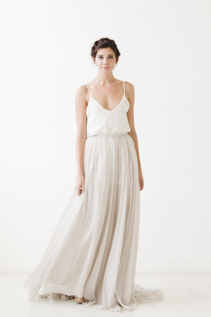 Watts Skirt- Grey Sarah Seven Wedding Dresses 2015