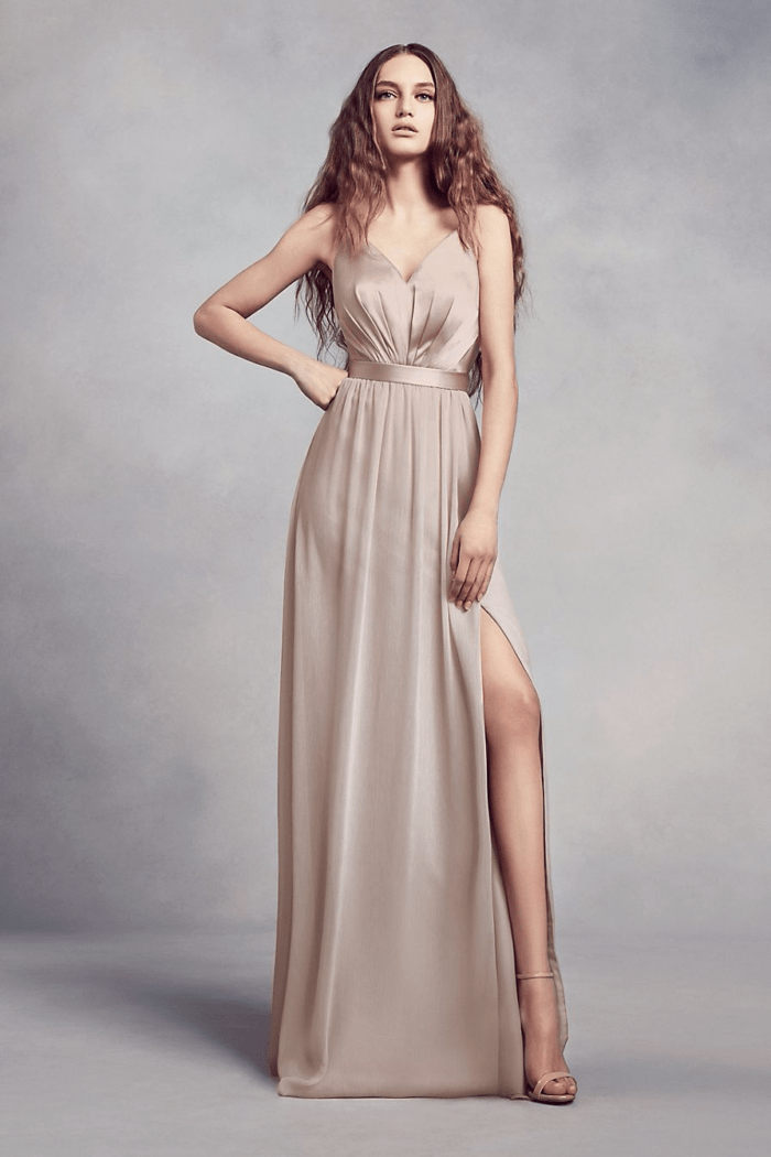 Sleek satin neutral gown for bridesmaids from David's Bridal