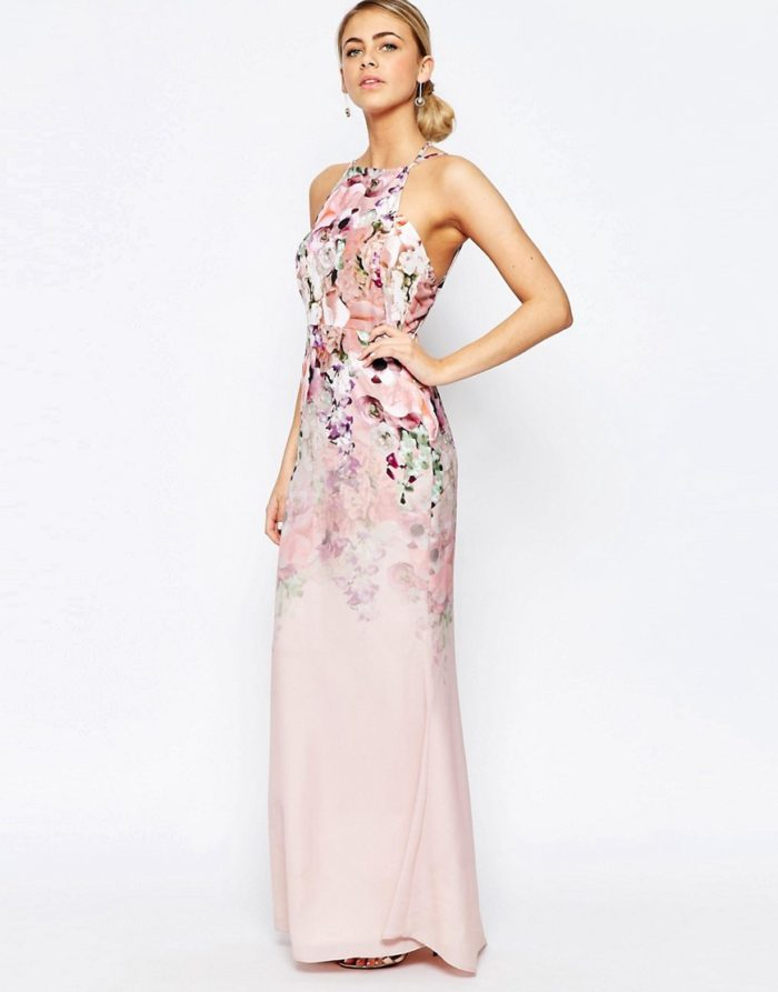 Pink Floral Maxi Dress for a Wedding Guest
