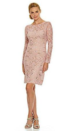 pink long sleeve sequin dress