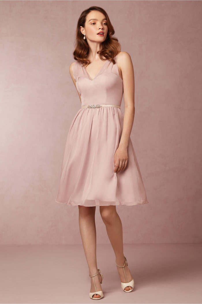 Short rose bridesmaid dress