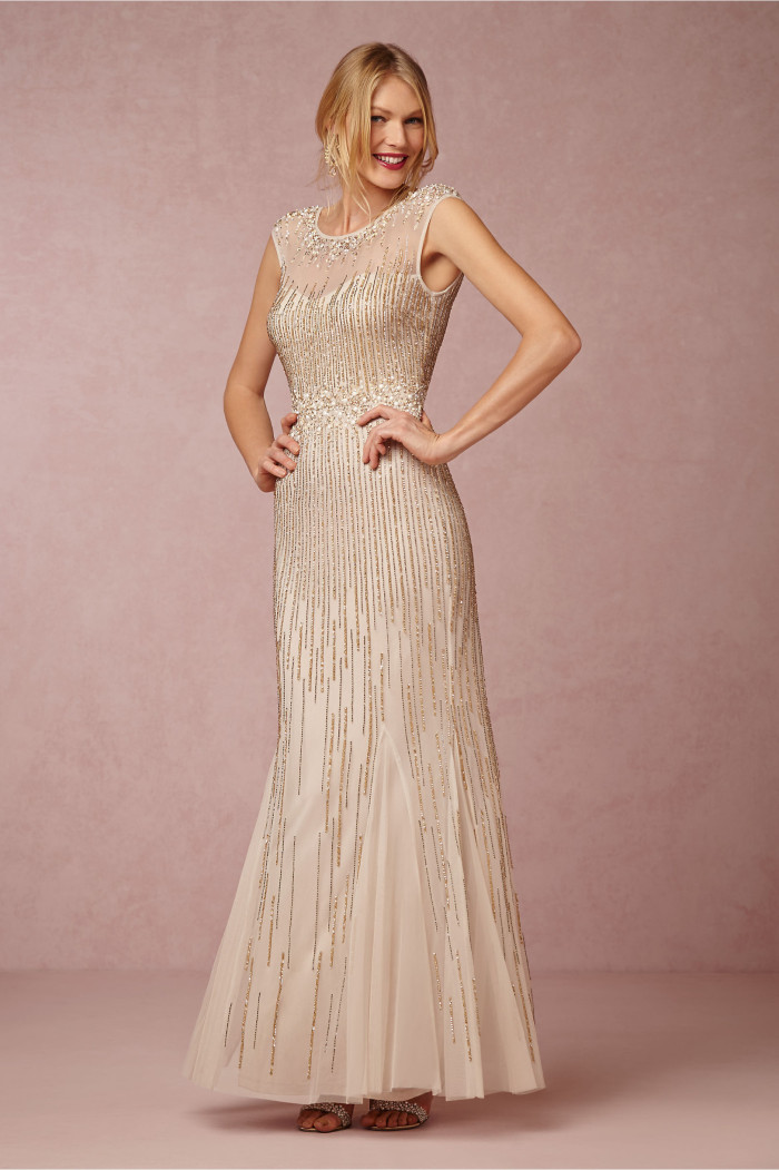 'Emeline' Sequin and tulle gold gown