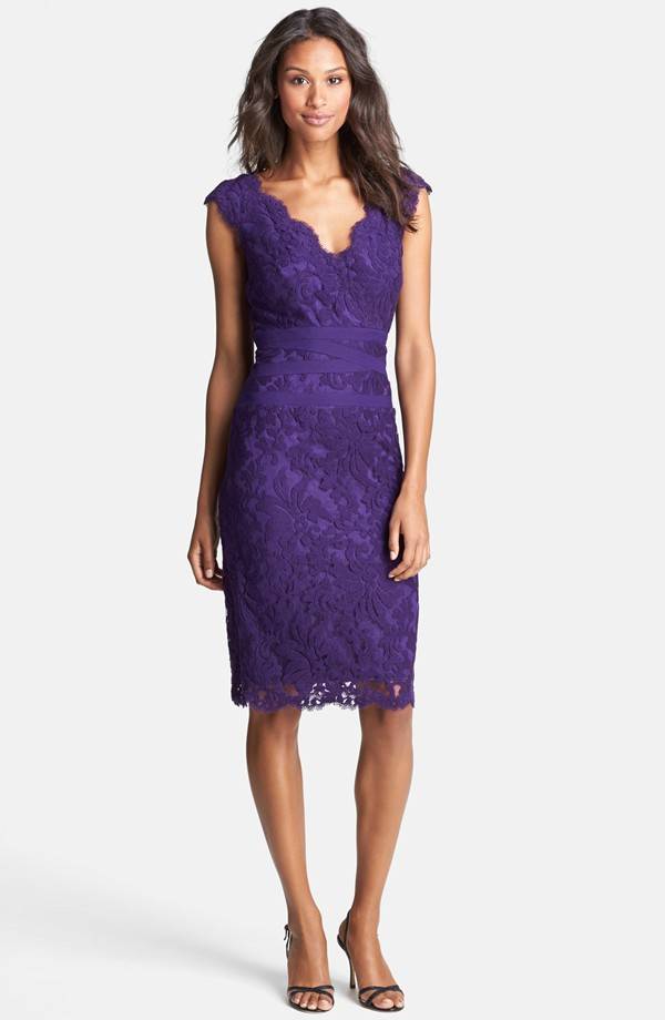 Purple lace wedding guest dress