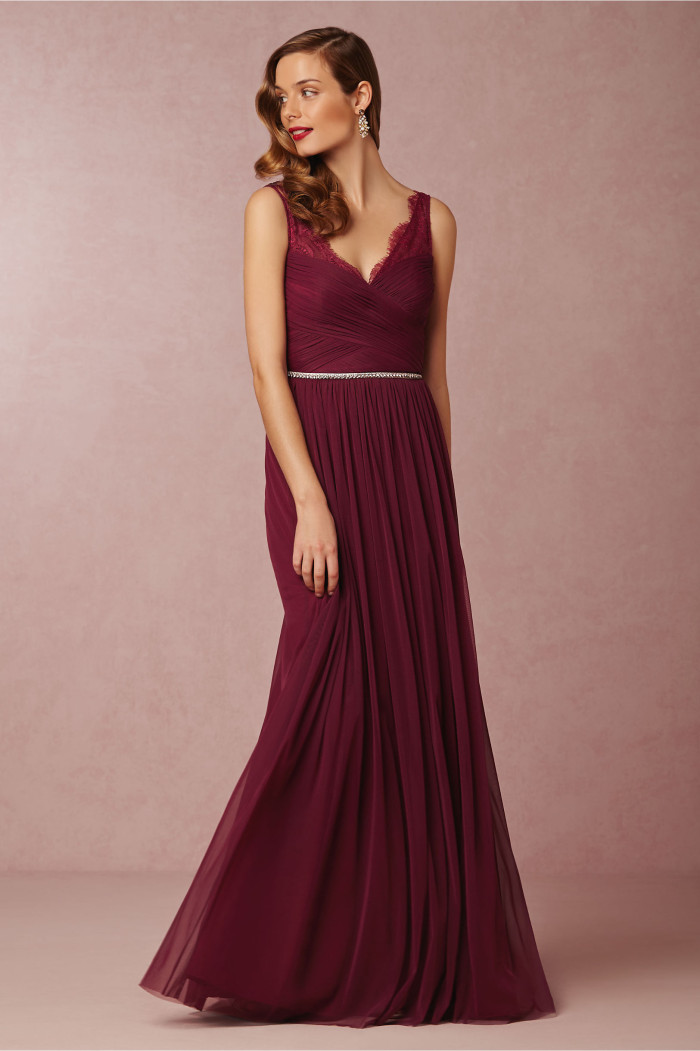 Burgundy bridesmaid dress from BHLDN