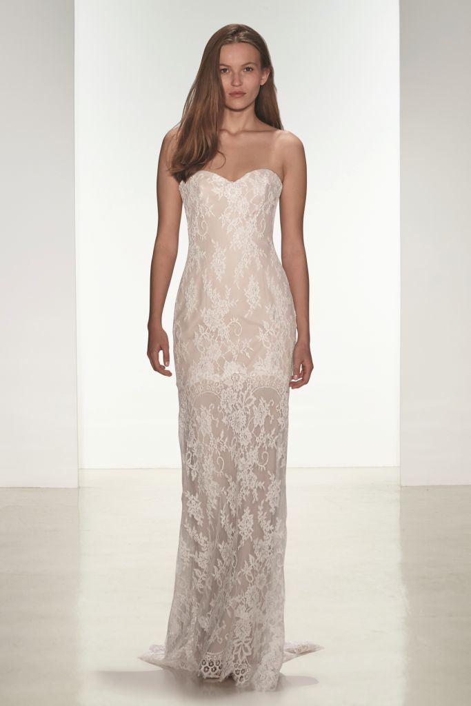 Lace strapless wedding dress | Kiera | nouvelle Amsale