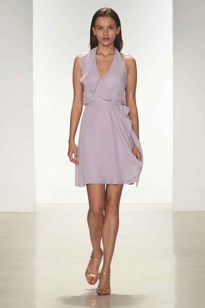 ruffled short bridesmaid dress