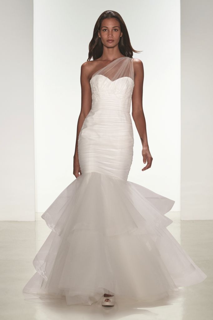 Narelle one shoulder tulle wedding dress from nouvelle Amsale