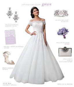 Off-the-Shoulder Wedding Dress by Sincerity Bridal