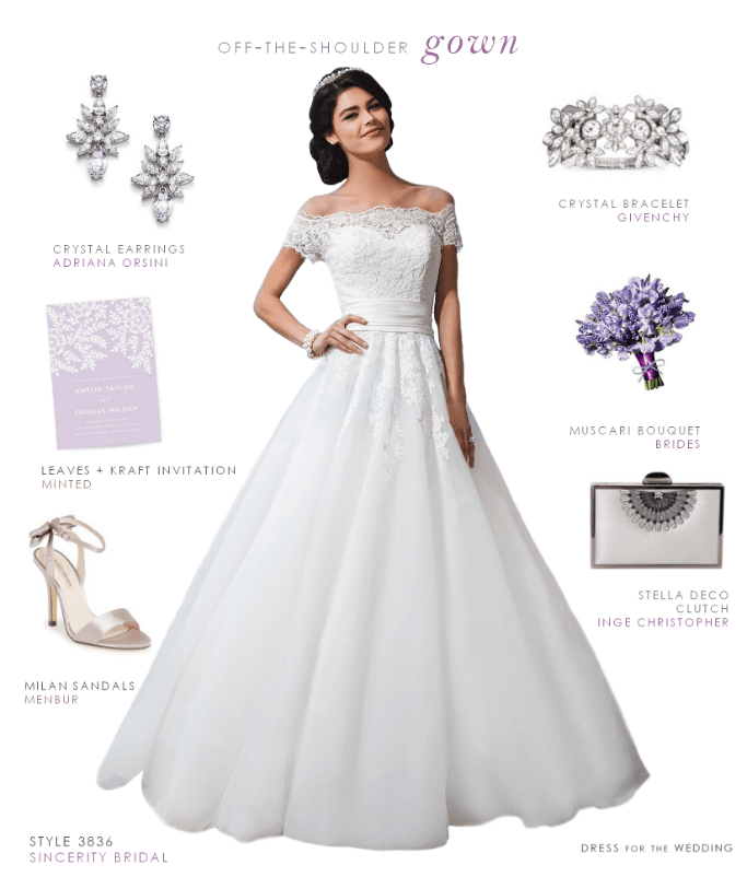 Off-the-Shoulder Wedding Dress by Sincerity Bridal