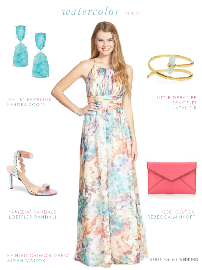 Maxi dress garden wedding guest outfit