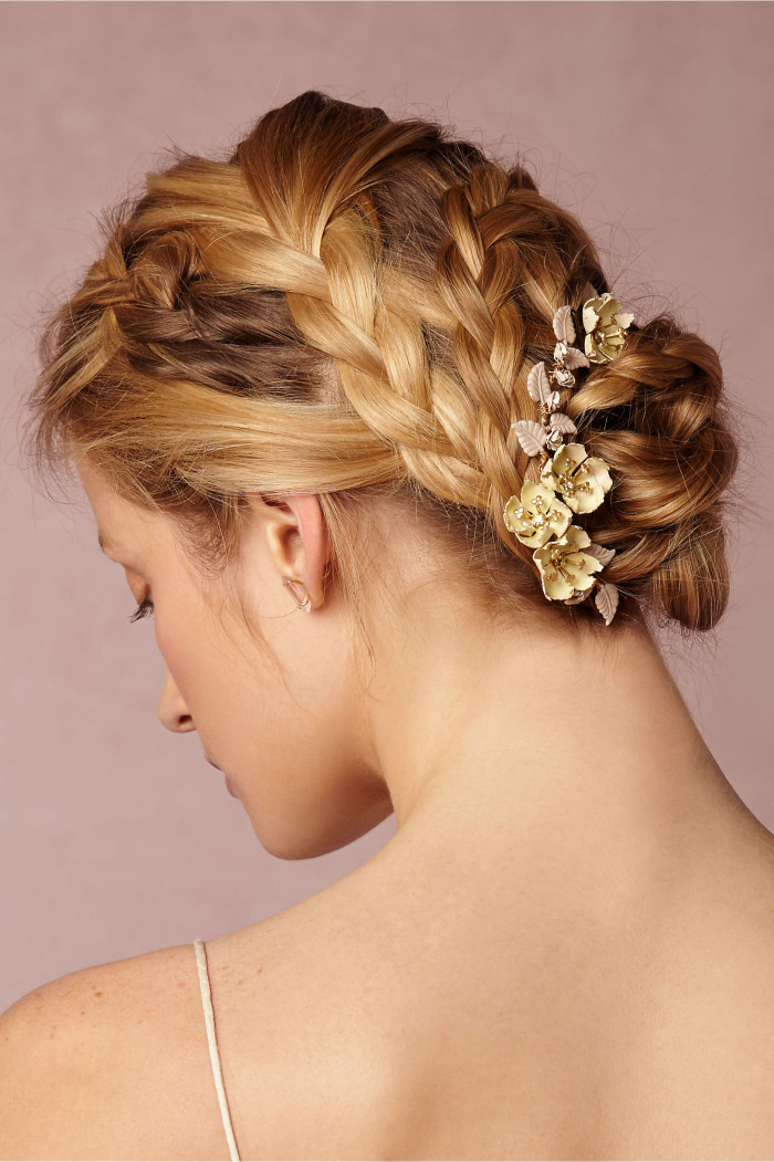 braided updo with golden hair accessory