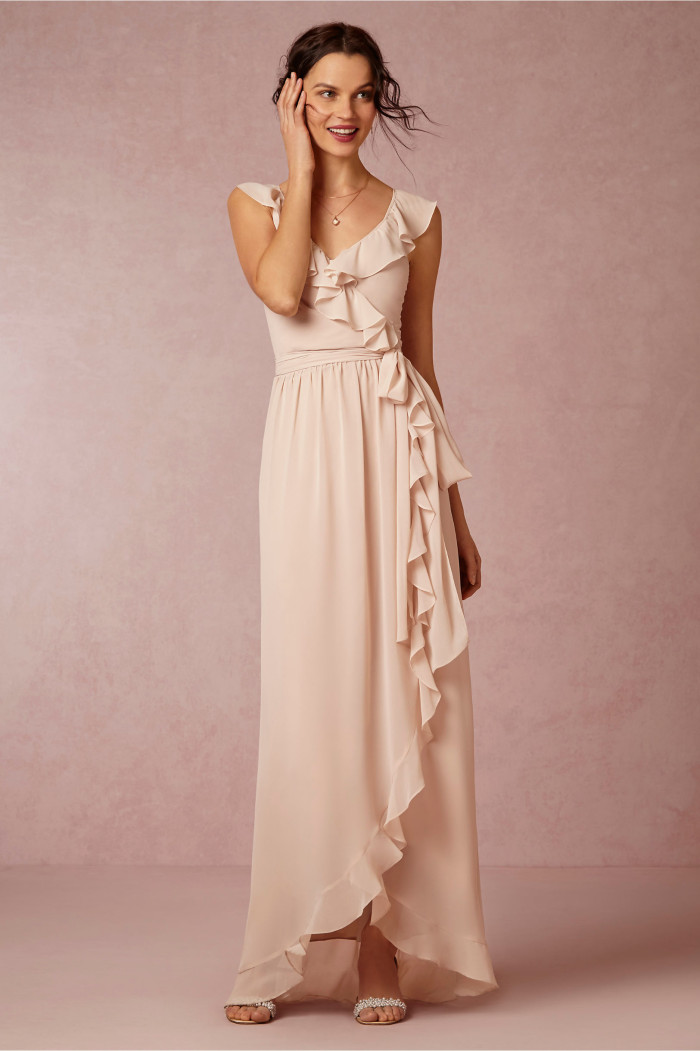 ruffled edge pink bridesmaid dress