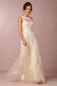 wedding dress with overlay