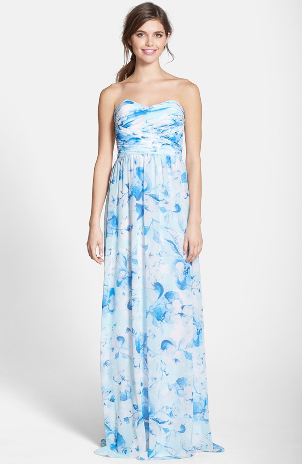 Blue floral bridesmaid dress