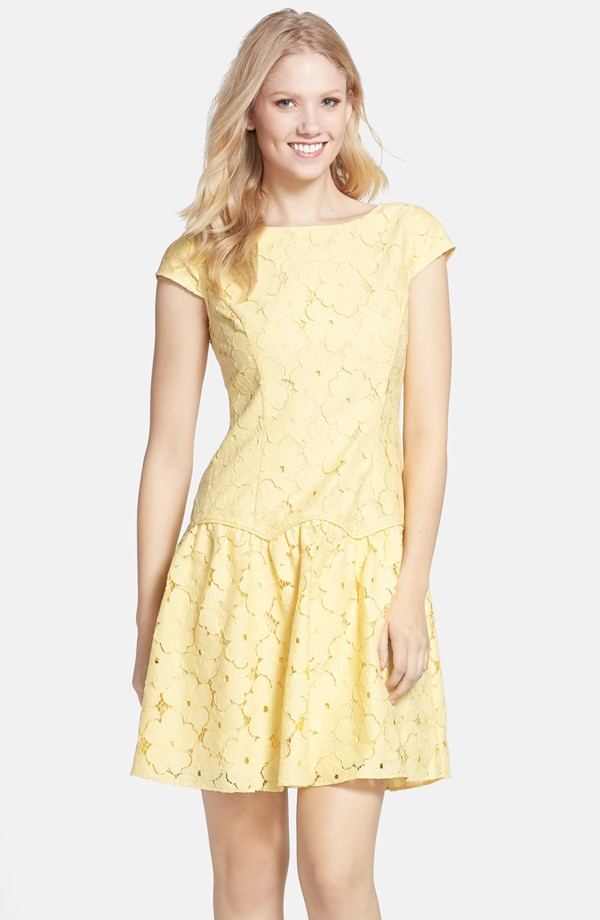 Yellow lace dress by Adrianna Papell |Bridal Shower Dresses