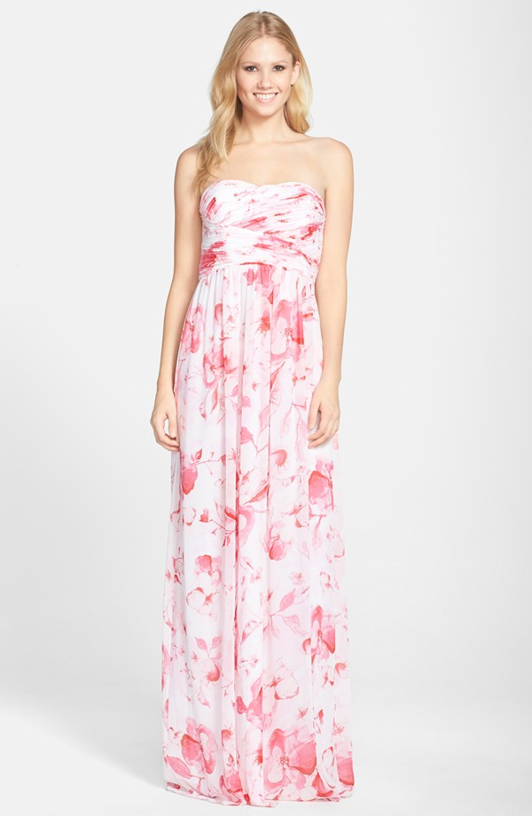 Pink and white floral bridesmaid dress