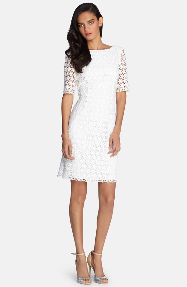 white lace shift dress for a bridal shower