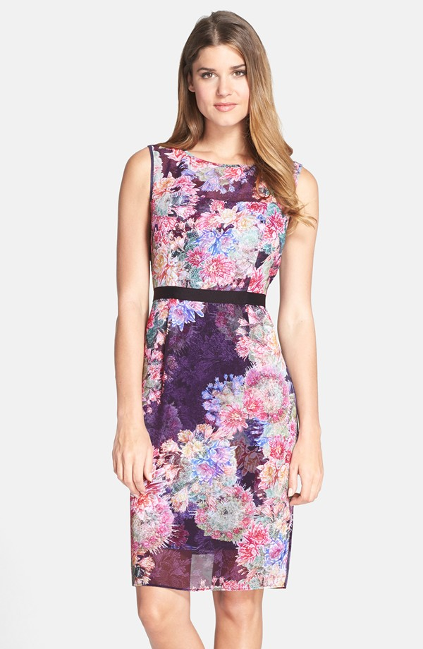 Purple floral cocktail dress