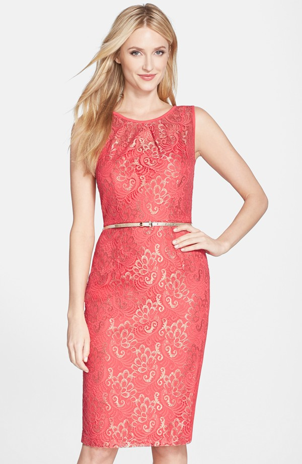 Coral lace wedding guest dress