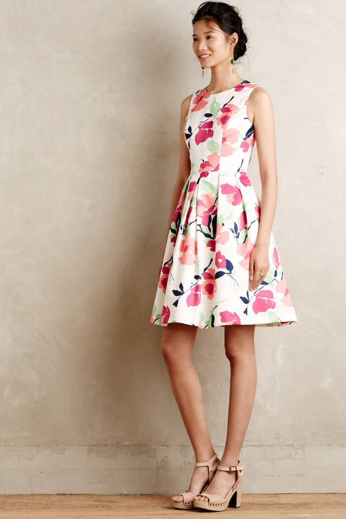 Pink floral dress by Anthropologie