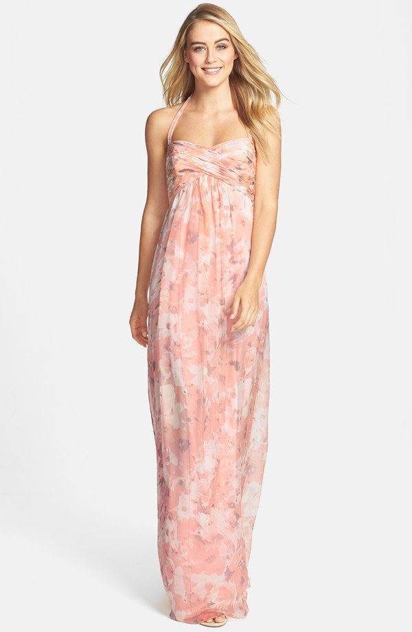 Amsale floral bridesmaid dress