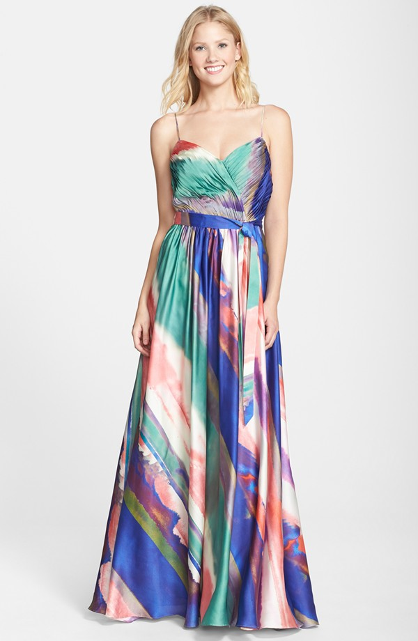 Abstract print gown