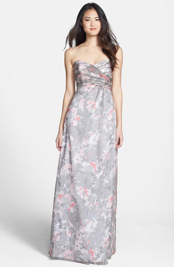 Amsale floral print bridesmaid dress