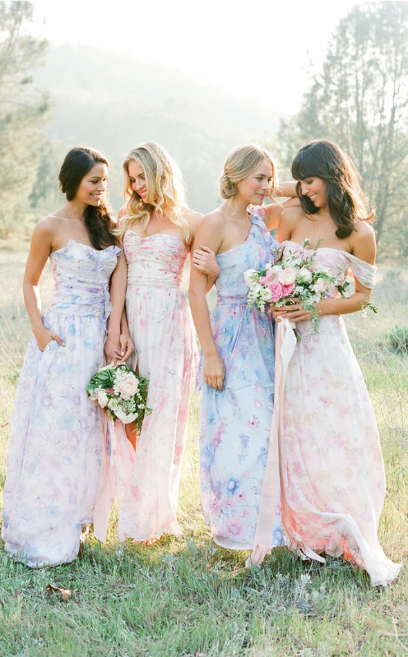 Floral mismatched bridesmaid dresses Plum Pretty Sugar