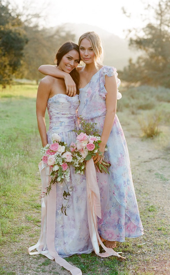 Mix and match floral bridesmaid dresses by Plum Pretty Sugar