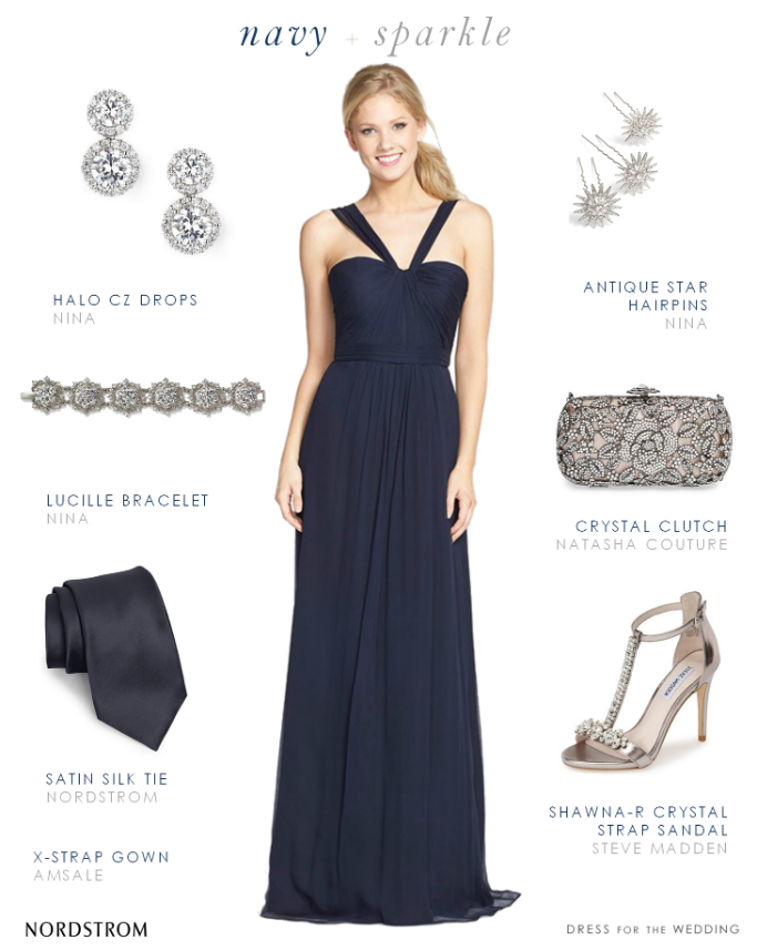 Navy blue bridesmaid gown Amsale