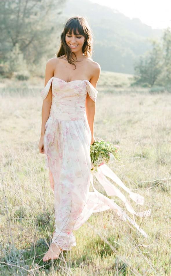 Off the shoulder floral bridesmaid dress