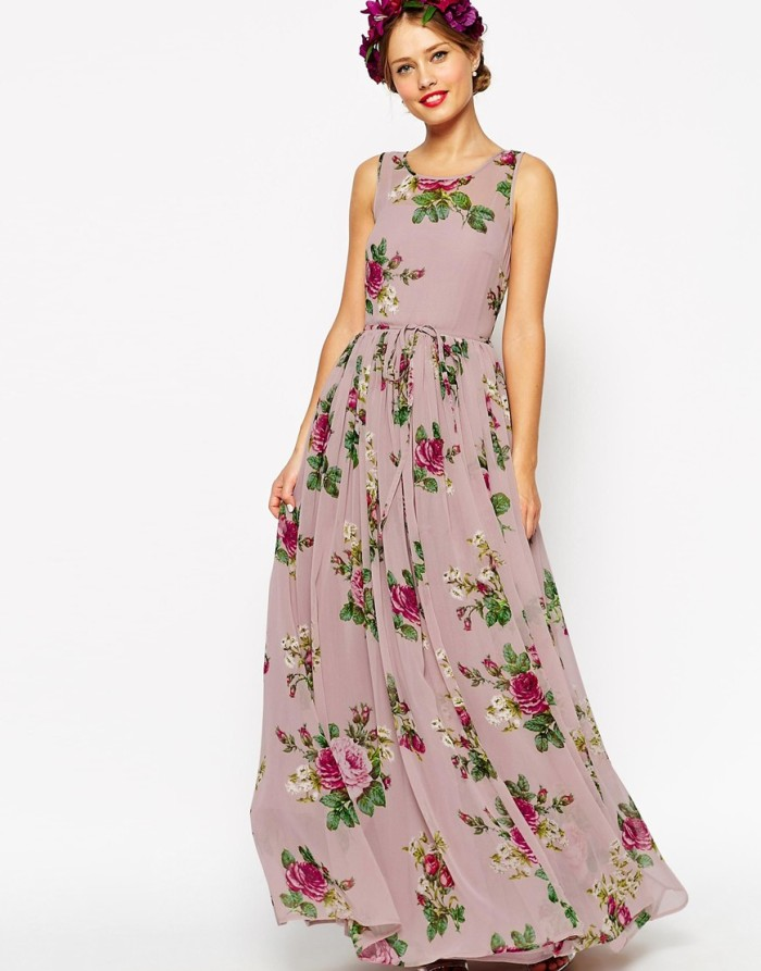 Floral dresses for bridesmaids for Purple maxi dresses for weddings