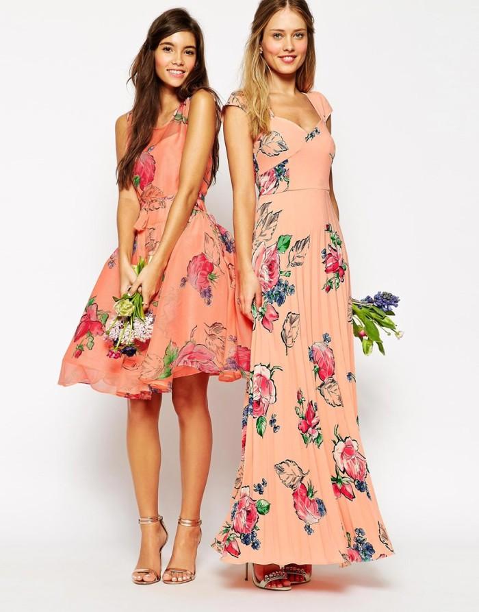 Coral floral dresses