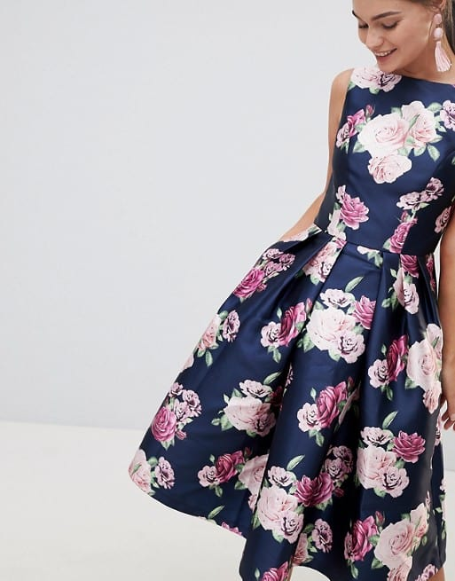 navy blue floral dress spring wedding guest