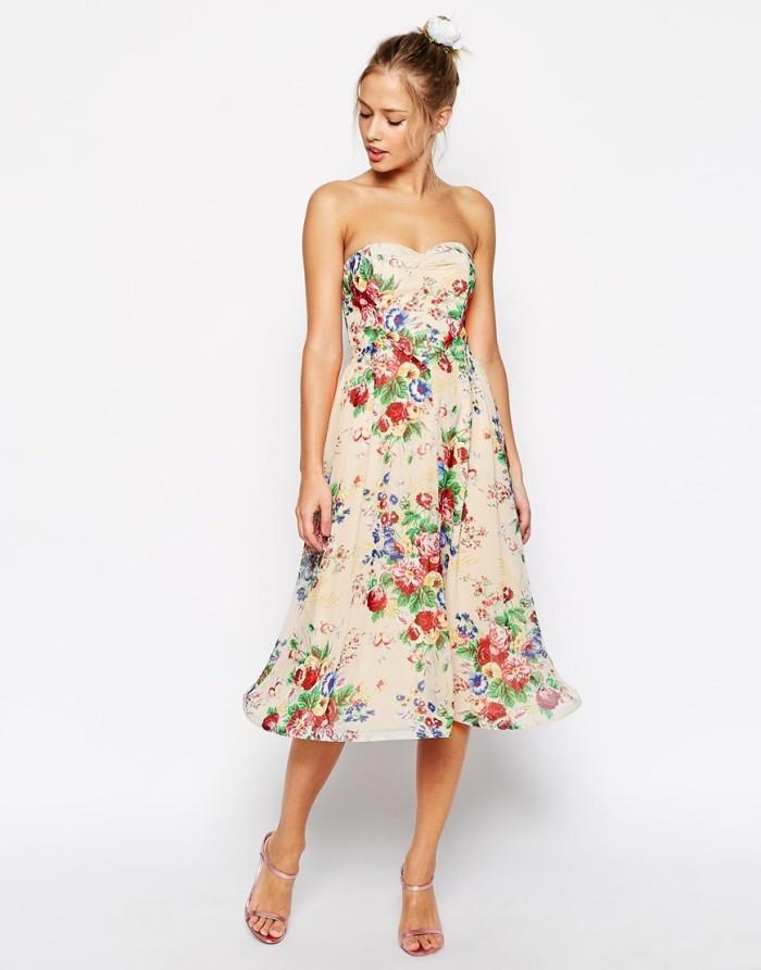 Neutral floral bridesmaid dress