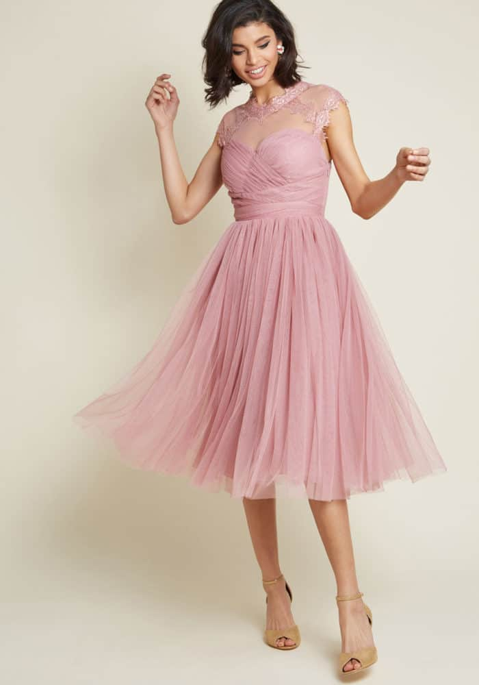 pink semi formal wedding guest dress