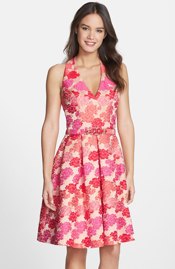 Red and pink floral dress