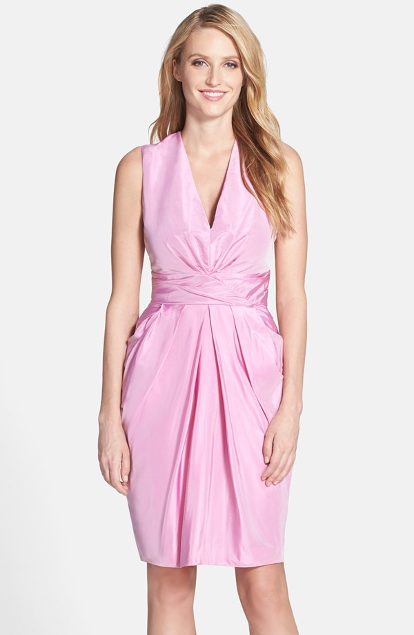 Pink silk cocktail dress