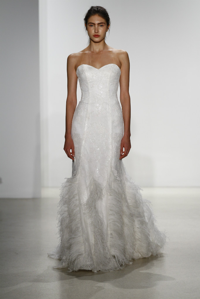 feather wedding dress Kelly Faetanini