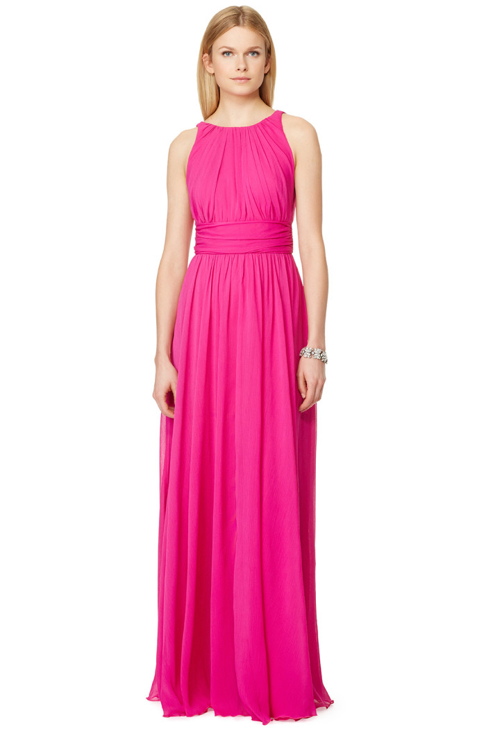 Bright pink full length gown