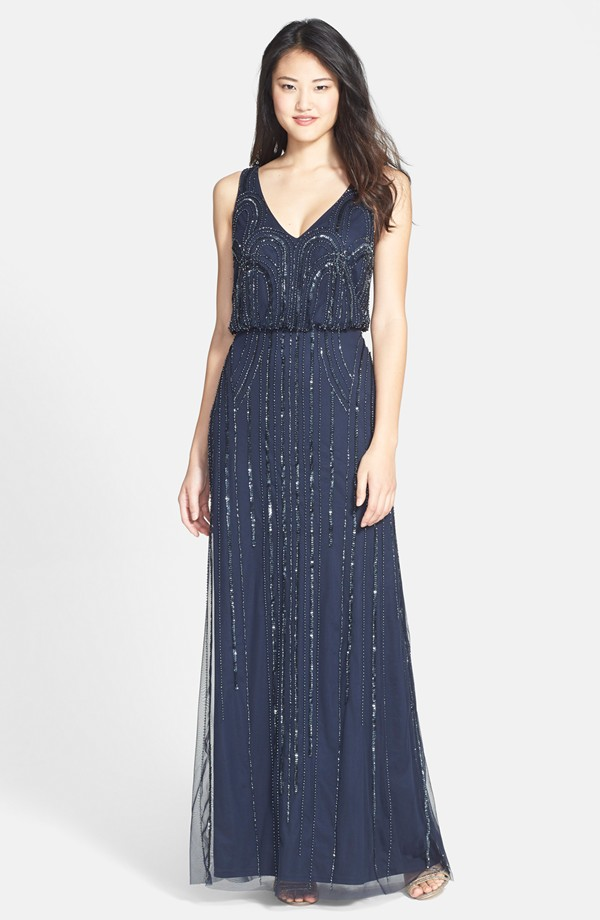 Beaded gown in navy blue
