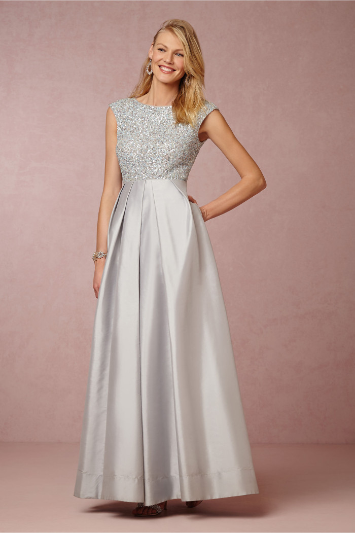 Beaded mother of the bride gown in light blue